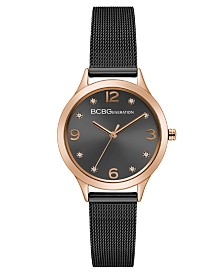 BCBGeneration Ladies Black Mesh Bracelet Watch with Rose Gold Case