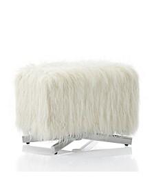 by Cosmopolitan Estelle Ottoman with Faux Fur
