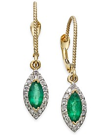 Emerald (3/4 ct. t.w.) & Diamond (1/4 ct. t.w.) Marquise Drop Earrings in 14k Gold