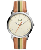 5ad473ce9438 LIMITED EDITION Fossil Men s Minimalist Striped Brown Striped Leather Strap  Watch 44mm