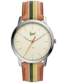 LIMITED EDITION  Fossil Men's Minimalist Striped Brown Striped Leather Strap Watch 44mm, Created for Macy's