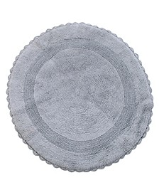 "Crochet Lace Border 36"" Reversible Cotton Round Bath Rug"