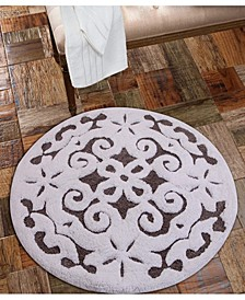 "Damask 36"" Anti-Skid Cotton Bath Rug"