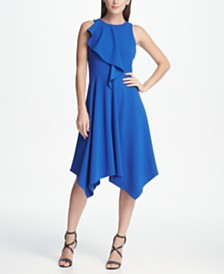 DKNY Ruffle Top A-line Midi Dress