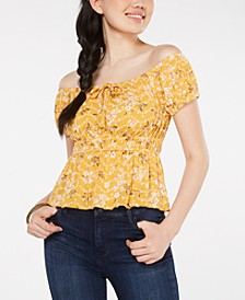Juniors' Printed Off-The-Shoulder Blouse