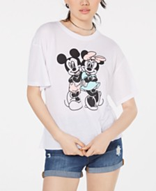 Modern Lux Juniors' Mickey & Minnie Mouse Graphic-Print T-Shirt