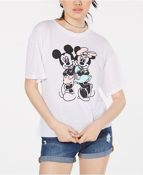 4acabaef70f6 ... T-Shirt; Modern Lux Juniors' Mickey & Minnie Mouse Graphic-Print ...