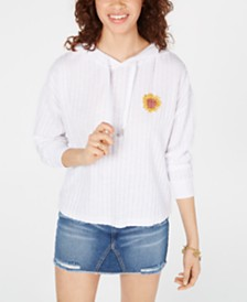 Pretty Rebellious Juniors' Embroidered Sunflower Hoodie