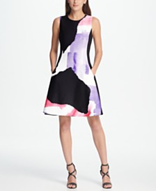 DKNY Graphic Print Scuba Fit & Flare Dress