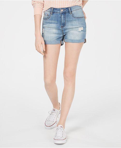 Indigo Rein Juniors' Cuffed High-Rise Denim Shorts