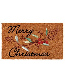 "Merry Christmas Berries 17"" x 29"" Coir/Vinyl Doormat"