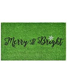 """Green Merry and Bright 17"""" x 29"""" Coir/Vinyl Doormat"""
