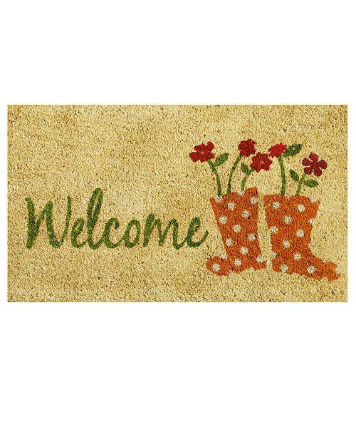 """Home & More Rainboots Welcome 17"""" x 29"""" Coir/Vinyl Doormat"""
