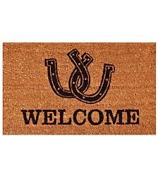 """Horseshoe Welcome 17"""" x 29"""" Coir/Vinyl Doormat"""