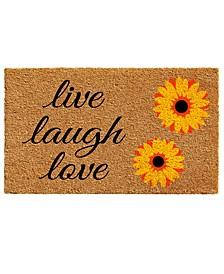 "Sunflower Live Laugh Love 17"" x 29"" Coir/Vinyl Doormat"