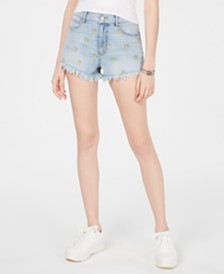 Rewash Juniors' Pineapple Embroidered Frayed Denim Shorts