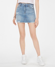 Tinseltown Juniors' Ripped Denim Mini Skirt
