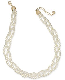 "Charter Club Gold-Tone Imitation Pearl Braided Triple-Strand Necklace, 18"" + 2"" extender, Created for Macy's"