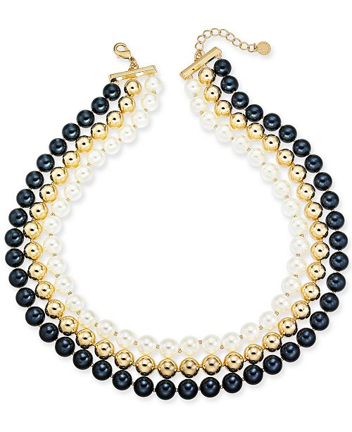 "Charter Club Gold-Tone Imitation Pearl Triple-Row Collar Necklace, 18"" + 2"" extender, Created for Macy's"
