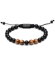 Original Grain Men's Zebrawood Black Onyx Macrame Bracelet 8mm