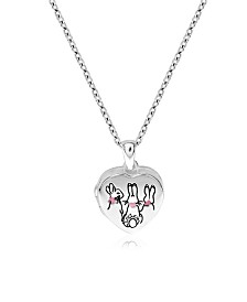 Beatrix Potter Sterling Silver Three Bunnies Heart Locket Necklace