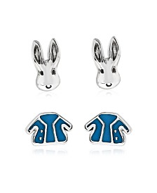 Beatrix Potter Sterling Silver Peter Rabbit Set of 2 Enamel Stud Earrings