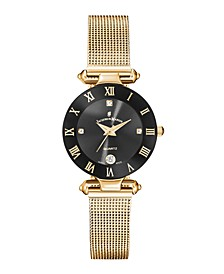 Jacques Du Manoir Ladies' Rose Gold Stainless Steel Mesh with Goldtone Case Black Bezel and Black Dial, 26mm