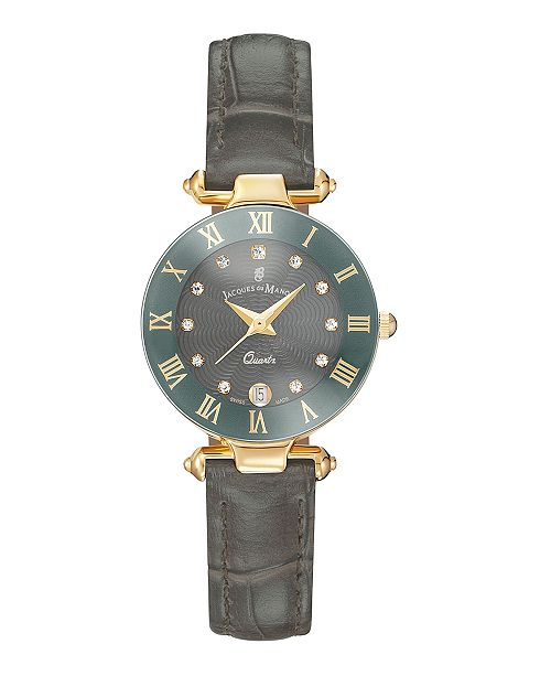 Jaques Du Manoir Jacques Du Manoir Ladies' Grey Genuine Leather Strap with Goldtone Case and Grey Dial with Diamond Markers, 26mm
