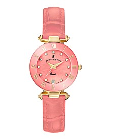 Jacques Du Manoir Ladies' Rose Genuine Leather Strap with Goldtone Case and Pink Dial with Diamond Markers, 26mm
