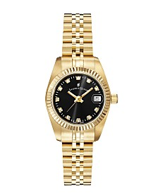 Jacques Du Manoir Ladies' Goldtone Stainless Steel Bracelet with Goldtone Case and Black Sunray Dial and Diamond Markers, 26mm