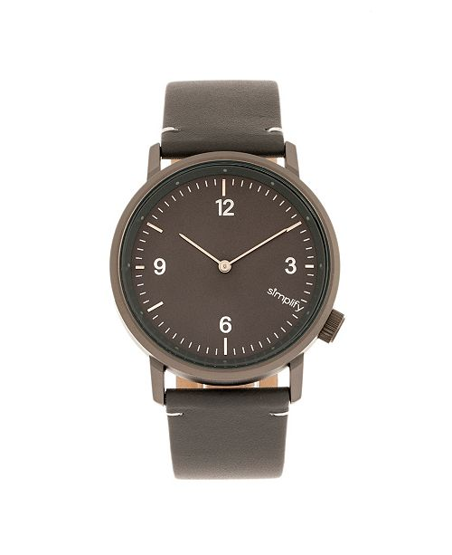 Simplify Quartz The 5500 Gunmetal Dial, Genuine Charcoal Leather Watch 41mm