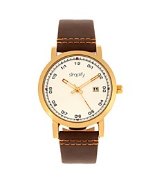 Quartz The 5300 Gold Case, Genuine Brown Leather Watch 40mm
