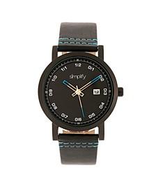 Quartz The 5300 Black Case, Genuine Black Leather Watch 40mm