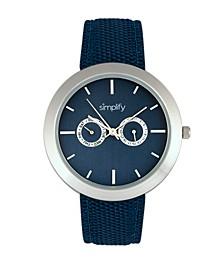 Quartz The 6100 Blue Dial, Canvas-Overlaid Polyurethane Blue Strap Watch 43mm