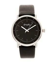 Quartz The 6200 Silver Case, Genuine Black Leather Watch 39mm