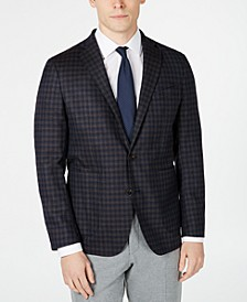 Men's Grand .OS Wearable Technology Slim-Fit Stretch Plaid Sport Coat