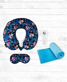 4-PC Memory Foam Travel Neck Pillow, Blanket and Bottles Set