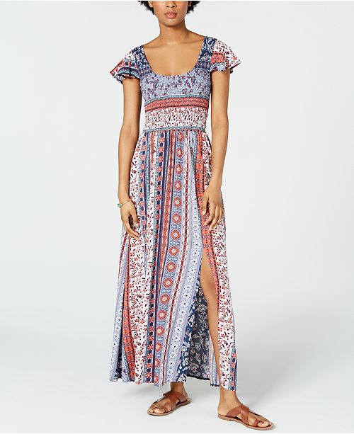 American Rag Juniors' Printed Smocked Tassel-Trimmed Maxi Dress, Created for Macy's