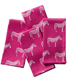 Zebra Raspberry Napkins, Set of 4