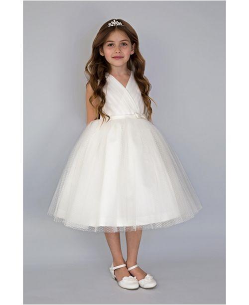 Us Angels Little Girls Sleeveless Pleated Bodice with Full Skirt