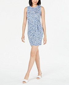 Sleeveless Printed Knot-Front Sheath Dress, Created for Macy's