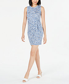 Maison Jules Sleeveless Printed Knot-Front Sheath Dress, Created for Macy's