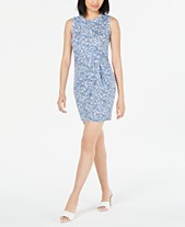 66583055 Maison Jules Sleeveless Printed Knot-Front Sheath Dress, Created for Macy's