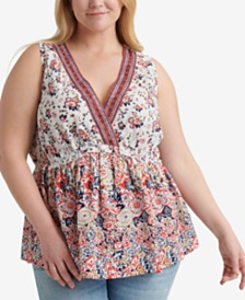 Lucky Brand Plus Size Embroidered Sleeveless Romantic Top