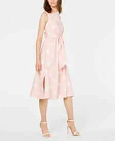 Anne Klein Dot-Print Midi Dress