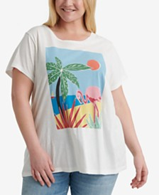 Lucky Brand Plus Size Cotton Tropical Crew T-Shirt