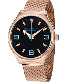 Stainless Steel Rose Gold Tone Case and Mesh Bracelet, with Black Dial and Blue Accents