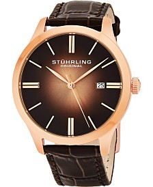 "Stuhrling Stainless Steel Rose Tone Case on Brown Alligator Embossed Genuine Leather Strap, Rose Tone ""Burnt"" Center Dial, with Rose Tone Accents"