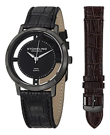 Stainless Steel Black PVD Case on Black Alligator Embossed Genuine Leather Interchangeable Strap with Additional Brown Alligator Embossed Strap, Black Dial, with Silver Tone Accents