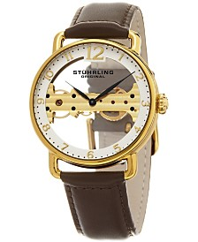 Stuhrling Men's Mechanical Bridge Watch, Gold Tone Case on Brown Genuine Leather Strap, White Skeletonized Dial with Exposed Bridge Movement, Gold Tone and Black Accents